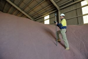Surveyor Daniel Welsh in Geraldton doing a volume survey for a mining company